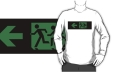 Accessible Exit Sign Project Wheelchair Wheelie Running Man Symbol Means of Egress Icon Disability Emergency Evacuation Fire Safety Adult T-shirt 152