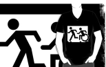 Accessible Exit Sign Project Wheelchair Wheelie Running Man Symbol Means of Egress Icon Disability Emergency Evacuation Fire Safety Adult T-shirt 153