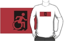 Accessible Exit Sign Project Wheelchair Wheelie Running Man Symbol Means of Egress Icon Disability Emergency Evacuation Fire Safety Adult t-shirt 154