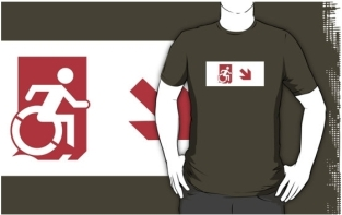 Accessible Exit Sign Project Wheelchair Wheelie Running Man Symbol Means of Egress Icon Disability Emergency Evacuation Fire Safety Adult t-shirt 155