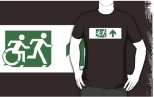 Accessible Exit Sign Project Wheelchair Wheelie Running Man Symbol Means of Egress Icon Disability Emergency Evacuation Fire Safety Adult T-shirt 156
