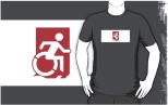 Accessible Exit Sign Project Wheelchair Wheelie Running Man Symbol Means of Egress Icon Disability Emergency Evacuation Fire Safety Adult t-shirt 157