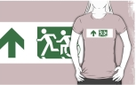 Accessible Exit Sign Project Wheelchair Wheelie Running Man Symbol Means of Egress Icon Disability Emergency Evacuation Fire Safety Adult T-shirt 159