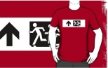 Accessible Exit Sign Project Wheelchair Wheelie Running Man Symbol Means of Egress Icon Disability Emergency Evacuation Fire Safety Adult T-shirt 16