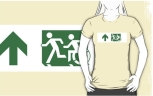 Accessible Exit Sign Project Wheelchair Wheelie Running Man Symbol Means of Egress Icon Disability Emergency Evacuation Fire Safety Adult T-shirt 160