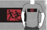 Accessible Exit Sign Project Wheelchair Wheelie Running Man Symbol Means of Egress Icon Disability Emergency Evacuation Fire Safety Adult T-shirt 161
