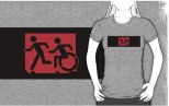 Accessible Exit Sign Project Wheelchair Wheelie Running Man Symbol Means of Egress Icon Disability Emergency Evacuation Fire Safety Adult T-shirt 162