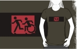 Accessible Exit Sign Project Wheelchair Wheelie Running Man Symbol Means of Egress Icon Disability Emergency Evacuation Fire Safety Adult T-shirt 163