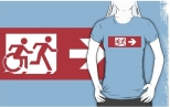 Accessible Exit Sign Project Wheelchair Wheelie Running Man Symbol Means of Egress Icon Disability Emergency Evacuation Fire Safety Adult T-shirt 164