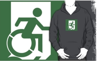 Accessible Exit Sign Project Wheelchair Wheelie Running Man Symbol Means of Egress Icon Disability Emergency Evacuation Fire Safety Adult T-shirt 165