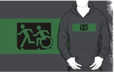 Accessible Exit Sign Project Wheelchair Wheelie Running Man Symbol Means of Egress Icon Disability Emergency Evacuation Fire Safety Adult T-shirt 166