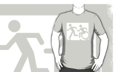 Accessible Exit Sign Project Wheelchair Wheelie Running Man Symbol Means of Egress Icon Disability Emergency Evacuation Fire Safety Adult T-shirt 167