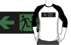 Accessible Exit Sign Project Wheelchair Wheelie Running Man Symbol Means of Egress Icon Disability Emergency Evacuation Fire Safety Adult T-shirt 169
