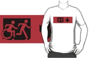 Accessible Exit Sign Project Wheelchair Wheelie Running Man Symbol Means of Egress Icon Disability Emergency Evacuation Fire Safety Adult T-shirt 17