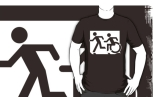 Accessible Exit Sign Project Wheelchair Wheelie Running Man Symbol Means of Egress Icon Disability Emergency Evacuation Fire Safety Adult T-shirt 170
