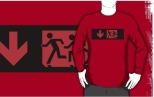 Accessible Exit Sign Project Wheelchair Wheelie Running Man Symbol Means of Egress Icon Disability Emergency Evacuation Fire Safety Adult T-shirt 171