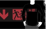 Accessible Exit Sign Project Wheelchair Wheelie Running Man Symbol Means of Egress Icon Disability Emergency Evacuation Fire Safety Adult T-shirt 172