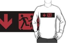 Accessible Exit Sign Project Wheelchair Wheelie Running Man Symbol Means of Egress Icon Disability Emergency Evacuation Fire Safety Adult T-shirt 174