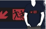 Accessible Exit Sign Project Wheelchair Wheelie Running Man Symbol Means of Egress Icon Disability Emergency Evacuation Fire Safety Adult T-shirt 179