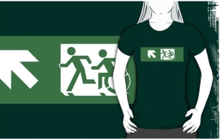 Accessible Exit Sign Project Wheelchair Wheelie Running Man Symbol Means of Egress Icon Disability Emergency Evacuation Fire Safety Adult T-shirt 180