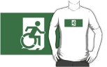 Accessible Exit Sign Project Wheelchair Wheelie Running Man Symbol Means of Egress Icon Disability Emergency Evacuation Fire Safety Adult t-shirt 18