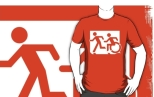 Accessible Exit Sign Project Wheelchair Wheelie Running Man Symbol Means of Egress Icon Disability Emergency Evacuation Fire Safety Adult T-shirt 182