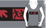 Accessible Exit Sign Project Wheelchair Wheelie Running Man Symbol Means of Egress Icon Disability Emergency Evacuation Fire Safety Adult T-shirt 184
