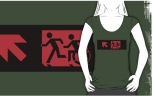 Accessible Exit Sign Project Wheelchair Wheelie Running Man Symbol Means of Egress Icon Disability Emergency Evacuation Fire Safety Adult T-shirt 186