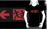 Accessible Exit Sign Project Wheelchair Wheelie Running Man Symbol Means of Egress Icon Disability Emergency Evacuation Fire Safety Adult T-shirt 187