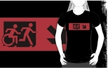 Accessible Exit Sign Project Wheelchair Wheelie Running Man Symbol Means of Egress Icon Disability Emergency Evacuation Fire Safety Adult T-shirt 19
