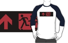 Accessible Exit Sign Project Wheelchair Wheelie Running Man Symbol Means of Egress Icon Disability Emergency Evacuation Fire Safety Adult T-shirt 195
