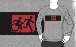 Accessible Exit Sign Project Wheelchair Wheelie Running Man Symbol Means of Egress Icon Disability Emergency Evacuation Fire Safety Adult T-shirt 197