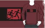 Accessible Exit Sign Project Wheelchair Wheelie Running Man Symbol Means of Egress Icon Disability Emergency Evacuation Fire Safety Adult T-shirt 198