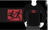 Accessible Exit Sign Project Wheelchair Wheelie Running Man Symbol Means of Egress Icon Disability Emergency Evacuation Fire Safety Adult T-shirt 199