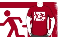 Accessible Exit Sign Project Wheelchair Wheelie Running Man Symbol Means of Egress Icon Disability Emergency Evacuation Fire Safety Adult T-shirt 2