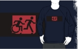 Accessible Exit Sign Project Wheelchair Wheelie Running Man Symbol Means of Egress Icon Disability Emergency Evacuation Fire Safety Adult T-shirt 200