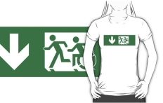 Accessible Exit Sign Project Wheelchair Wheelie Running Man Symbol Means of Egress Icon Disability Emergency Evacuation Fire Safety Adult T-shirt 206