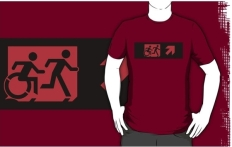 Accessible Exit Sign Project Wheelchair Wheelie Running Man Symbol Means of Egress Icon Disability Emergency Evacuation Fire Safety Adult T-shirt 209