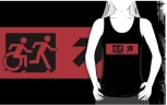Accessible Exit Sign Project Wheelchair Wheelie Running Man Symbol Means of Egress Icon Disability Emergency Evacuation Fire Safety Adult T-shirt 21