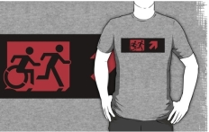 Accessible Exit Sign Project Wheelchair Wheelie Running Man Symbol Means of Egress Icon Disability Emergency Evacuation Fire Safety Adult T-shirt 210