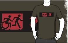 Accessible Exit Sign Project Wheelchair Wheelie Running Man Symbol Means of Egress Icon Disability Emergency Evacuation Fire Safety Adult T-shirt 211