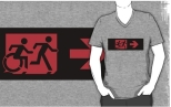 Accessible Exit Sign Project Wheelchair Wheelie Running Man Symbol Means of Egress Icon Disability Emergency Evacuation Fire Safety Adult T-shirt 213