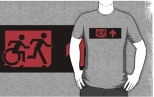 Accessible Exit Sign Project Wheelchair Wheelie Running Man Symbol Means of Egress Icon Disability Emergency Evacuation Fire Safety Adult T-shirt 214