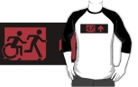 Accessible Exit Sign Project Wheelchair Wheelie Running Man Symbol Means of Egress Icon Disability Emergency Evacuation Fire Safety Adult T-shirt 215