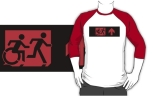 Accessible Exit Sign Project Wheelchair Wheelie Running Man Symbol Means of Egress Icon Disability Emergency Evacuation Fire Safety Adult T-shirt 216