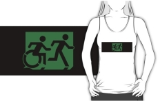 Accessible Exit Sign Project Wheelchair Wheelie Running Man Symbol Means of Egress Icon Disability Emergency Evacuation Fire Safety Adult T-shirt 217