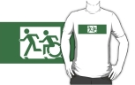 Accessible Exit Sign Project Wheelchair Wheelie Running Man Symbol Means of Egress Icon Disability Emergency Evacuation Fire Safety Adult T-shirt 218