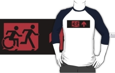Accessible Exit Sign Project Wheelchair Wheelie Running Man Symbol Means of Egress Icon Disability Emergency Evacuation Fire Safety Adult T-shirt 219