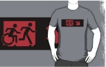 Accessible Exit Sign Project Wheelchair Wheelie Running Man Symbol Means of Egress Icon Disability Emergency Evacuation Fire Safety Adult T-shirt 220