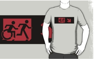 Accessible Exit Sign Project Wheelchair Wheelie Running Man Symbol Means of Egress Icon Disability Emergency Evacuation Fire Safety Adult T-shirt 221